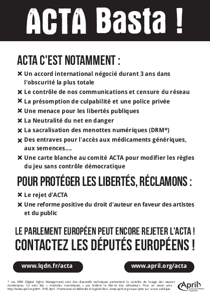 Affiche anti ACTA verso