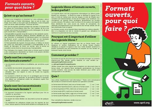Aperçu du verso du poster : Formats ouverts, pourquoi faire ?