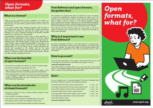 Picture of the poster verso: Open formats, what for?